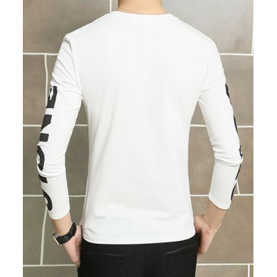 Гаджет   Casual Round Neck Solid Color Slimming Simple Letters Print Long Sleeves Men