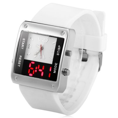 Dual - movt LED Sports Watch Red Digital Rubber Watchband