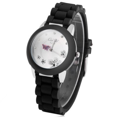 Caiqi A243 Women Quartz Watch Diamond Round Dial Rubber Strap