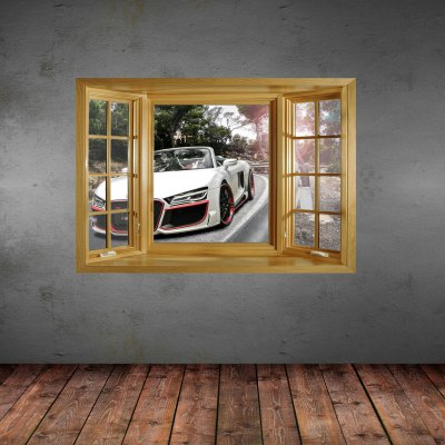 ФОТО 3D Cool Car Pattern Home Appliances Decoration Wall Sticker