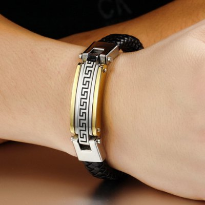 Гаджет   Stylish Chic Printed Faux Leather Chain Bracelet For Men Men