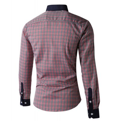 ФОТО Exquisite Plaid Print Turn-down Collar Slimming Color Splicing Long Sleeves Men