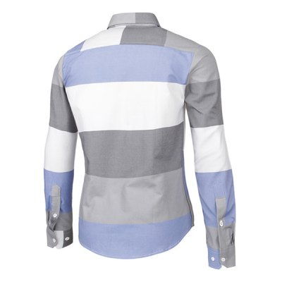 Гаджет   Trendy Distinct Color Block Stripes Print Turn-down Collar Slimming Long Sleeves Men