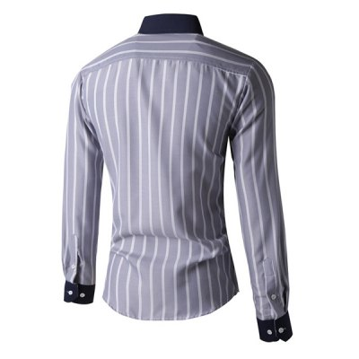 ФОТО Slimming Color Block Turn-down Collar Stripes Print Pocket Embellished Long Sleeves Men