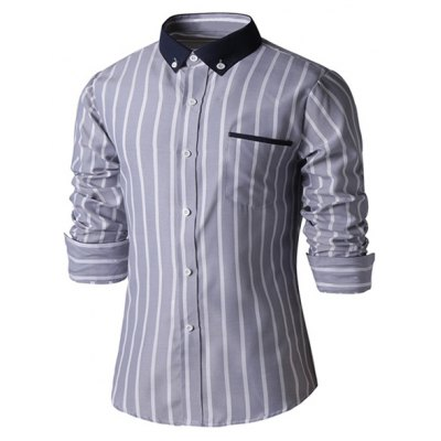 Striped Embellished Men\'s Business Shirt
