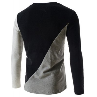 Гаджет   Fashionable Round Neck Classic Color Splicing Slimming Long Sleeves Men
