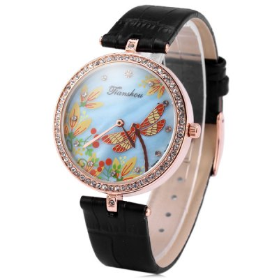 Tianshou 8359 Diamond Bezel Quartz Watch Dragonfly Pattern Leather Strap for Women Ladies