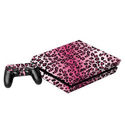 Leopard Print Style Game Console Gamepad Controller Stickers Skin for PS4