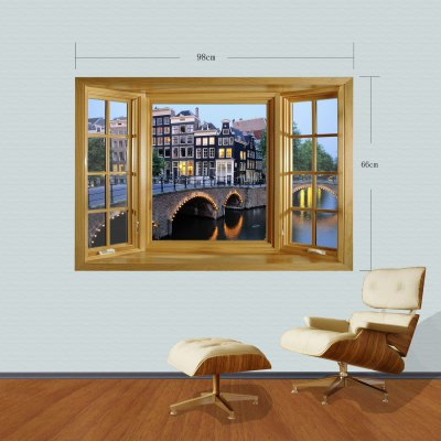 Фотография 3D City Night View Pattern Home Appliances Decoration Wall Sticker
