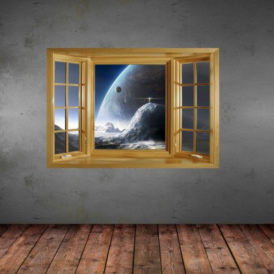 ФОТО 3D Planet View Pattern Home Appliances Decoration Wall Sticker