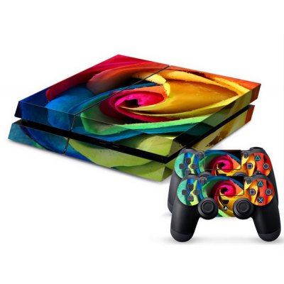 Rose Style Game Console Gamepad Controller Stickers Skin for PS4