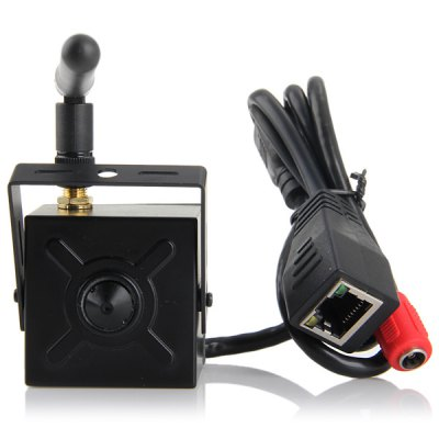 IP42W  -  100 H.264 3.7mm Pinhole Lens WIFI Mini Infrared CameraIP Cameras<br>IP42W  -  100 H.264 3.7mm Pinhole Lens WIFI Mini Infrared Camera<br><br>Model  : IP42W-100<br>Color: Black<br>Shape : Mini Camera<br>Technical Feature : Other<br>IP camera performance : Support video control<br>Network Interface: RJ-45 (10/100Base-T)<br>Protocol: NTP, DDNS, DHCP, FTP<br>Video Compression Format: H.264<br>Image Sensor: CMOS<br>Pixels: 1000000 pixel<br>Exterior Material: Metal<br>Product Weight  : 0.140 kg<br>Package Weight  : 0.230 kg<br>Product Size (L x W x H) : 4.1 x 4.3 x 3 cm / 1.61 x 1.69 x 1.18 inches<br>Package Size (L x W x H)  : 12 x 12 x 10 cm / 4.72 x 4.72 x 3.93 inches<br>Package Contents: 1 x IP Camera, 1 x Antenna, 1 x CD