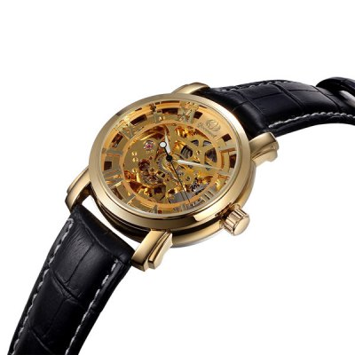 Фотография Gucamel Luminous Analog Mechanical Watch Hollow - out Design Genuine Leather Band for Men
