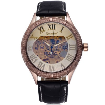 Фотография Gucamel Men Automatic Mechanical Watch Genuine Leather Band Hollow Out Style