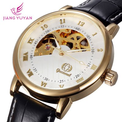 ФОТО Gucamel Analog Mechanical Watch Hollow - out Design Genuine Leather Band for Men