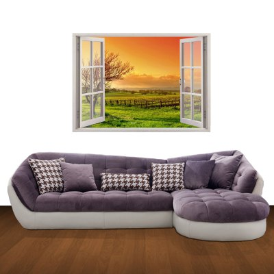ФОТО 3D Country Sunset Pattern Home Appliances Decoration Wall Sticker