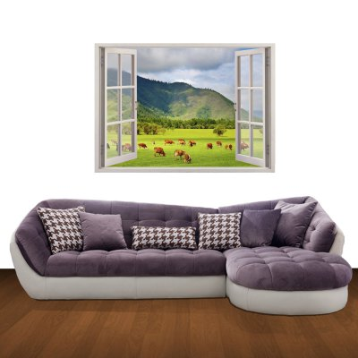 ФОТО 3D Pasture Scenery Pattern Home Appliances Decoration Wall Sticker