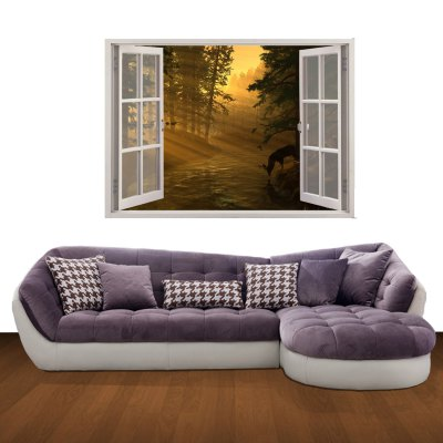 3D Mountain Twilight Pattern Home Appliances Decoration Wall Sticker
