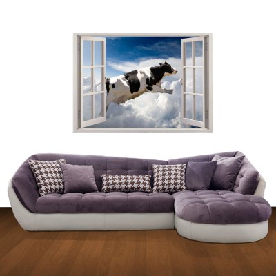 ФОТО 3D Flying Dairy Cow Pattern Home Appliances Decoration Wall Sticker