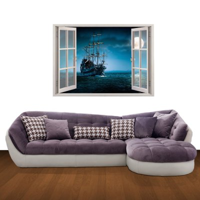 Гаджет   3D Moonlight on the Sea Pattern Home Appliances Decoration Wall Sticker Home Decor