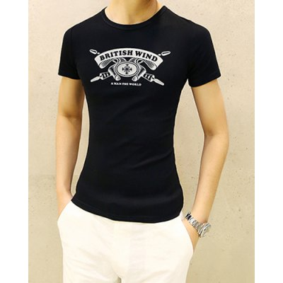 Гаджет   Casual Round Neck Personality Letters Print Slimming Solid Color Short Sleeves Men