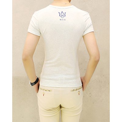 Гаджет   Casual Round Neck Letters Print Slimming Solid Color Short Sleeves Men