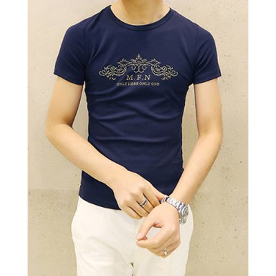 Гаджет   Laconic Solid Color Round Neck Letters and Abstract Print Slimming Short Sleeves Men