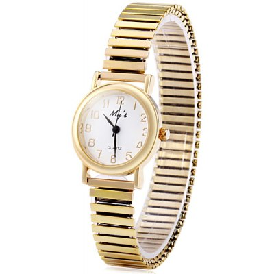 My's Female Quartz Watch Round Dial and Steel Elastic Watchband