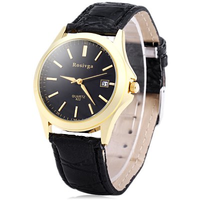 Rosivga 822 Men Quartz Watch Date Display Wristwatch Leather Strap