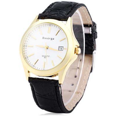 Гаджет   Rosivga 822 Men Quartz Watch Date Display Wristwatch Leather Strap Men
