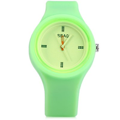 Sbao Rubber Band Wristwatch Male Quartz Watch with Round Dial