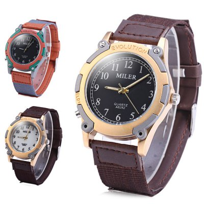 Miler A8262 Male Luminous Quartz Watch with Leather Band Round Dial