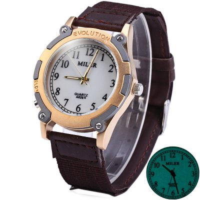 Фотография Miler A8262 Male Luminous Quartz Watch with Leather Band Round Dial