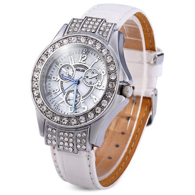 Miler 688 Women Quartz Watch with Diamond Round Dial Leather Strap