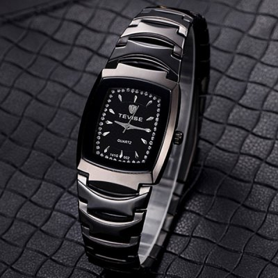 Tevise Diamond Men Quartz Watch Stainless Steel Body Rectangle Dial