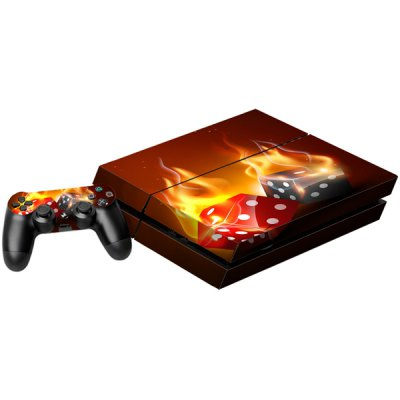 Burning Dice Style Game Console and Handle Protection Stickers Skin Decal for PS4