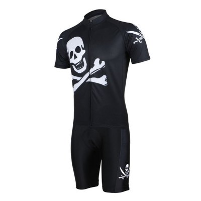 Arsuxeo Skull Style Men Cycling Suit Jersey Jacket Pants Kit Short Sleeve Bike Bicycle Running Clothes