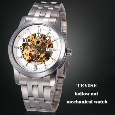 Tevise 619 - 001 Hollow - out Design Male Automatic Mechanical Watch with Alloy Body Round Dial