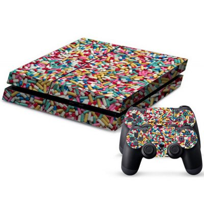 Capsule Pattern Game Console Handle Stickers Skin Decal Fits for PS4