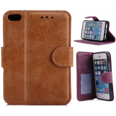 PU Leather and TPU Material Vintage Style Cover Case for iPhone SE 5S