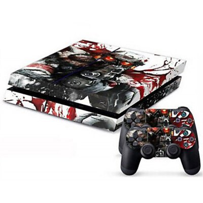 Blood Soldier Style Game Console and Handle Protection Stickers Skin Decal for PS4
