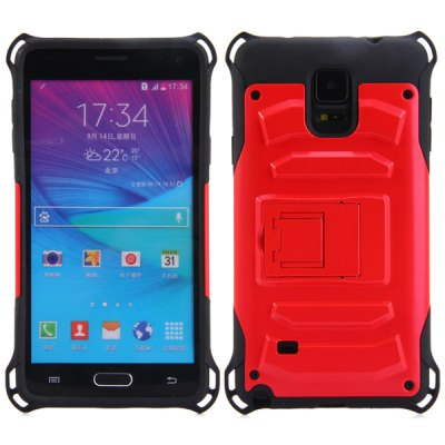 PC and TPU Material Stand Design Back Cover Case for Samsung Galaxy Note 4 N9100Samsung Cases/Covers<br>PC and TPU Material Stand Design Back Cover Case for Samsung Galaxy Note 4 N9100<br><br>Compatible for Sumsung: Galaxy Note 4<br>Features: Back Cover, Cases with Stand<br>Material: Plastic, TPU<br>Style: Novelty<br>Color: Black, Red, Blue, Gold, Silver<br>Product weight: 0.052 kg<br>Package weight: 0.070 kg<br>Product size (L x W x H) : 16.3 x 9.1 x 1.1 cm / 6.41 x 3.58 x 0.43 inches<br>Package size (L x W x H): 17 x 10 x 2 cm / 6.68 x 3.93 x 0.79 inches<br>Package Contents: 1 x Case