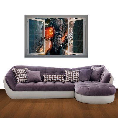 Гаджет   Steel Warrior Pattern Home Appliances Decoration 3D Wall Sticker Home Decor