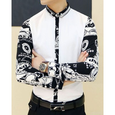 ФОТО Stylish Shirt Collar Slimming Color Block Print Splicing Long Sleeve Cotton Blend Shirt For Men