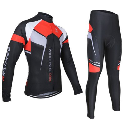 Arsuxeo ZLS07X Men Cycling Suit Jersey Jacket Pants Kit Long Sleeve Bike Bicycle Outdoor Running Clothes