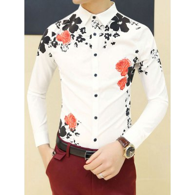 ФОТО Stylish Shirt Collar Slimming Color Block Flower Print Long Sleeve Cotton Blend Shirt For Men