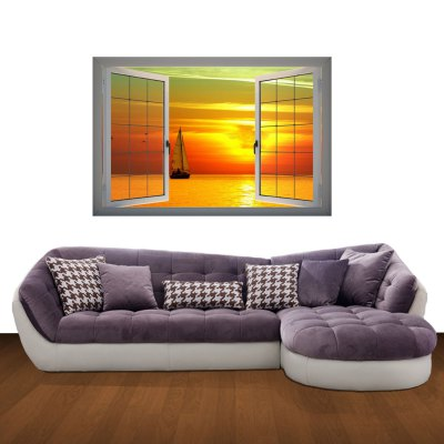 ФОТО Sunset Pattern Home Appliances Decoration 3D Wall Sticker