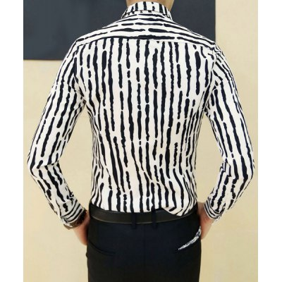 ФОТО Stylish Shirt Collar Slimming Color Block Irregular Stripe Design Long Sleeve Cotton Blend Shirt For Men