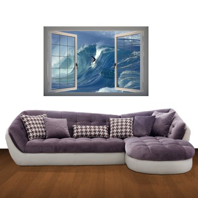 Surfing Sport Lanscape 3D Art Wall Decals / Removable Vinyl Stickers for Home / Office