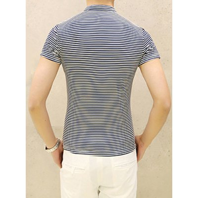 British Style Classic Stripes Print Stand Collar Slimming Short Sleeves Men's Polo T-Shirt